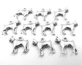 Set of Ten (10) Silver Tone Pewter Boxer (Dog) Charms - 0047