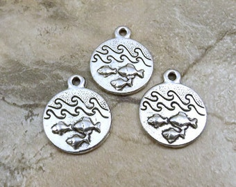Set of Three (3) Pewter Four Elements WATER Pewter Charms - 0014