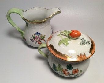 Herend Queen Victoria Garden Creamer and Sugar