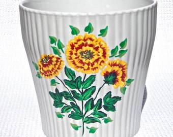 Hand Painted White Flowerpot With Yellow and Red Marigolds, Unique Gift Ideas