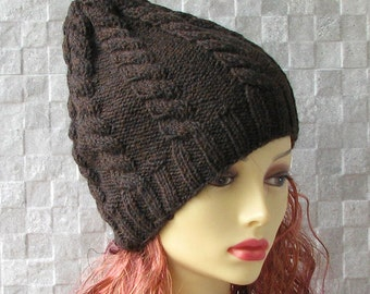 Mens Knit Hat Hand knitted ladies slouchy beanie Brown Slouchy Beanie  Knit Hat  Beanie