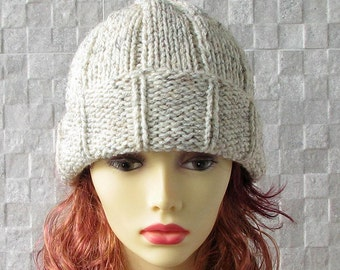 Hand knitted ladies slouchy beanie - Winter Hat - Knit Hat Slouchy Beanie - Oatmeal Slouchy Hat - Women's Slouchy Hat Mens Beanie Hat