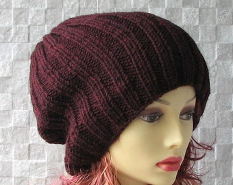 Knitted hats for men Mens Beanie Hat, Slouchy Beanie, Marsala Hat, Mens Slouch Beanie, Mens Knit Hat, Mens Knit Beanie, Mens Knitted Hat