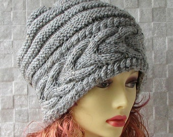 Hand Knitted  Slouchy Beanie Knitted Hat for Women  Trendy Oversized Hat Chunky Knit