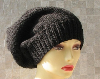 Slouchy Beanie Black Knitted Knit Fall Warm Hat Men's Cap Boys for Men Chunky Wool  Black Hat Mens Beanie Winter Beanie Teen Boy Nice