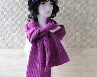 PURPLE hand knitted shawl knit scarf, knit shawl, wool scarf, shawl wrap, knitted ladies scarf, knit women,