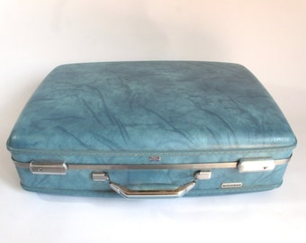 "Vintage American Tourister Suitcase Luggage Pearl Blue 24""  Hardside Burlesque Valise"