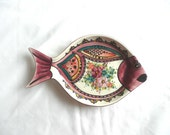 RESERVED FOR BRENDA Hand painted dish - vintage fish dish - hand painted fish dish - hand made ceramic fish plate
