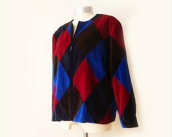 SALE Vintage Patchwork velvet Jacket ,  Multi Color Jacket ,Soft Velvet Jacket , Oversized Cropped Jacket , XL Jacket velvet .
