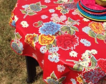 80 Round Oilcloth Tablecloth RED Mum NO HOLE Red Trim