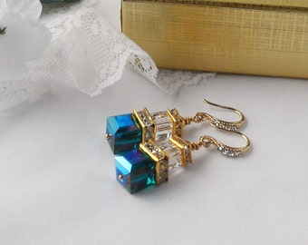 Emerald Green Swarovski Cube Crystal Earrings  with Gold Plated Squardelles and Rhinestone Ear Hooks