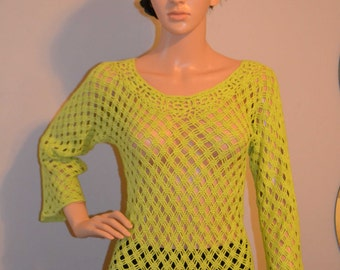 Hello Spring Custom Made Cotton Size Hand Crocheted Shirt - Sizes 0 to 20