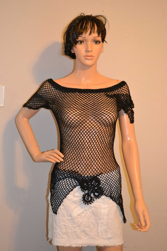 Beautiful Dark Shadows Hand Made Cotton, Crocheted Shirt - Sizes 0 to 20