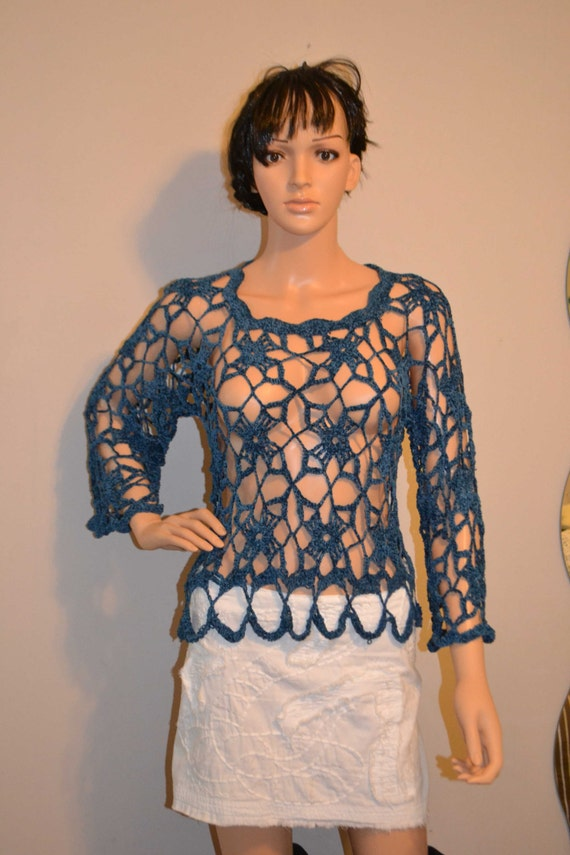 Angel's Blue's Hand Made Cotton ,Blue Crocheted Shirt - Sizes 0 to 20
