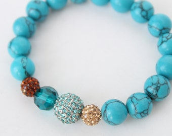 Turquoise Pave Beaded Bracelet