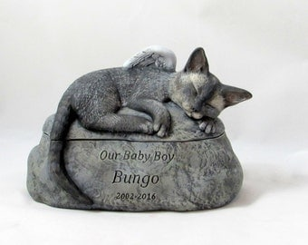 Ceramic Engraved Painted Devon Rex Cat Cremation Urn - hand made pet urn