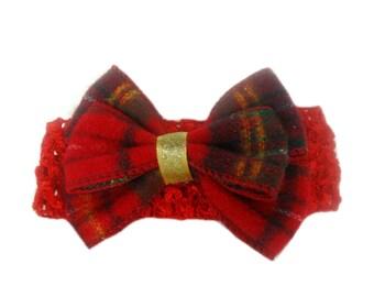 Christmas Headband, Babys 1st Christmas, Holiday Headband, Baby Head Band, Newborn Headband, Red, Tartan, Christmas Hair Bow