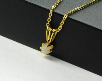 3mm Rough Diamond Pendant Necklace in 14K Gold Filled - White Stone, Raw, Uncut - April Birthstone