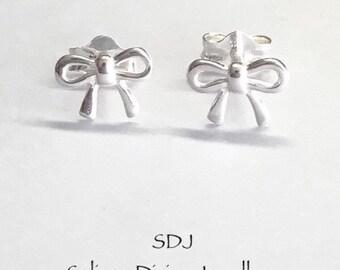 Bow Silver Studs/ Small Sterling Silver Bow Earrings/ Stud Earrings/ Kids Jewellery