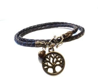 Black Friday, Cyber Monday, Sale, Leather Wrap Bracelet, Unique Tree Bracelet, Wrist Wrap Bracelet, Bracelets On Sale, Tigers Eye Bracelet