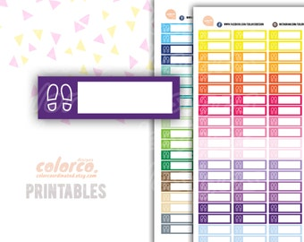 Spring STEP TRACKER Printable Planner Stickers Erin Condren Happy Planner Inkwell Plum Paper Instant Digital Download