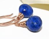 Lapis Lazuli Earrings, Rose Gold, Wire Wrapped, Handmade, Lapis Earrings, September Birthstone, Cobalt Blue