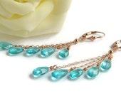 Blue Quartz Earrings, Rose Gold Jewelry, Apatite Blue, Handmade, Blue Cascade Earrings, Summer Days