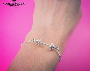 Barbell Bracelet, Workout Jewelry, Dumbbell Bracelet, Fitness Jewelry, Unisex Bracelet, Womens Bracelet, Mens Bracelet, Gym Motivation