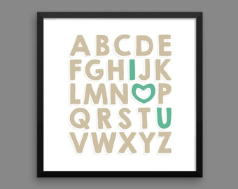 I LOVE YOU (Venetian & Mermaid) Framed Alphabet Poster Print - Nursery, Kids Room, Wall Art Modern