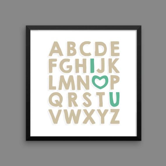 I LOVE YOU (Venetian & Mermaid) Framed Alphabet Poster Print - Nursery, Kids Room, Wall Art Modern
