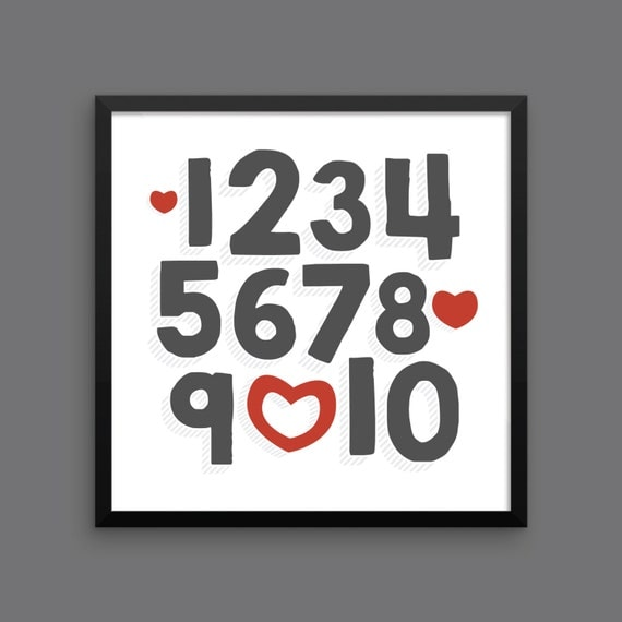 I LOVE YOU (Charcoal & Red) Framed Number Poster Print - Nursery, Kids Room, Wall Art Modern