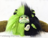 "Halloween plush yeti artist bear, halloween monster, black and green monster plush, Halloween ghost, ghoul brooch, ""Goobie"""
