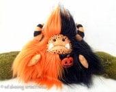 "Halloween plush yeti artist bear, halloween monster, black and orange monster plush, Halloween pumpkin, halloween brooch, ""Jack O' Lantern"""