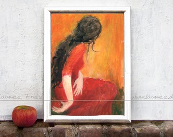 PERSEPHONE. Giclee Fine Art Print. Ink Drawing by Laumee. Wall Art. Red painting. Mythology. Home decor.