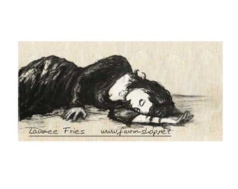 SLEEPING WOMAN. Fine Art Giclée Print on Wood. Hand Colored Drawing by Laumee. Small Art Print. Charcoal. Woman Art. Wall Art. Home Decor.