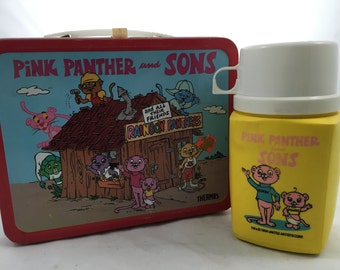 1984 Pink Panther and Sons Lunch Box with Thermos - Pinky and Panky - Metal - Great Condition