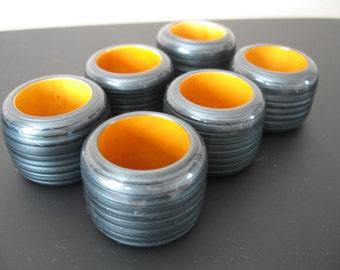 Retro Napkin Rings With Gray Pearlesque Shine and Orange Interior, Set of Six