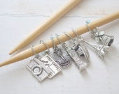Travel Buff / Knitting Stitch Marker Set / Small Medium Large Sizes Available