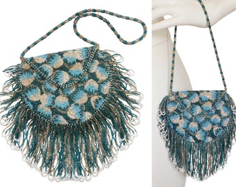 1920s Vintage Beaded Fringed Flapper Bag Evening Handbag Purse Antique Art Deco