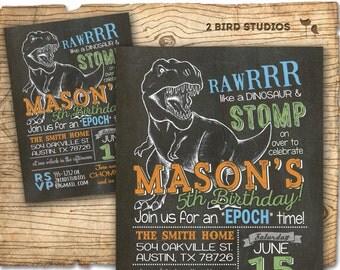Dinosaur birthday invitation - Dinosaur invitation for dinosaur birthday party - Dinosaur party invite - dinosaur dig - Chalkboard invite