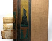 Vintage Book Cover*Journal Making Supplies*Statue of Liberty Cloth and Leather Book Cover for Journal Making