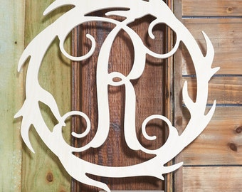 "19.5"" Antler Wreath Monogram! Perfect for that outdoorsmen or woman in your life!"