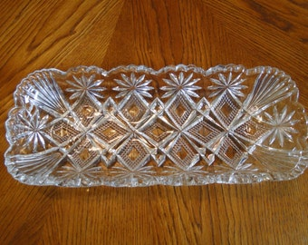 Vintage Pressed Glass Rectangle Tray, Oblong Celery Tray, Scallop Edge Relish Tray, Sawtooth Edge Serving Dish, Treats Dish, Serving Bowl