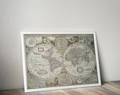 New & Accurate Map of the World // Vintage 1651 World Atlas Reproduction Print // High-quality Cartography Print For Office or Home Decor