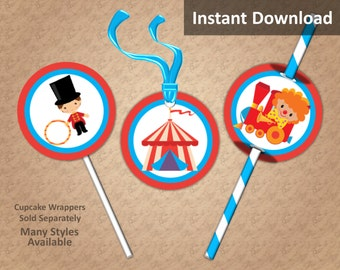 Carnival Circus Party Cupcake Toppers, Carnival Circus Party Decorations, Favor Tags, Straw Flags, Printable, Instant Download