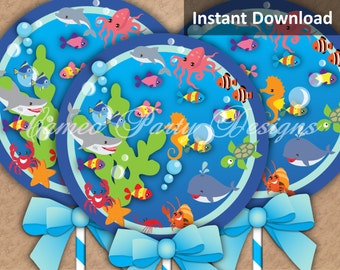 Under the Sea Party Circle, Under the Sea Party Decorations, 6in. Centerpiece, Kids Party Printables, DIY Party Decoration, Instant Download