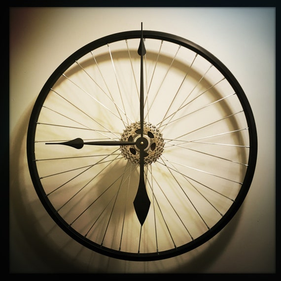 Items similar to bike wheel wall clock large wall clock for Bicycle wheel wall art