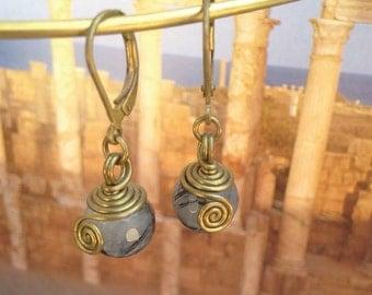 Tourmaline quartz earrings, wire wrapped brass earrings,bridesmaid earrings boho wedding jewelry spiral earrings, tourmaline quartz jewelry