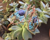Blue Moon Tree of Life Earring with Bright Blue Iridescent Beads