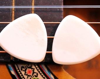 Set of 2 Buffalo Bone Picks - 2mm Traditional Tri Shape - Earthy Feel & Sound - Acoustic Guitar, Mandolin, Ukulele